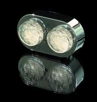 Doppel-Mini-Rücklicht LED chrom, E-gepr.