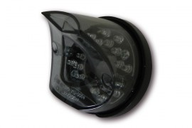 LED-Rücklicht Madison, schwarze runde Basisplatte, bogenförmiges getöntes Glas