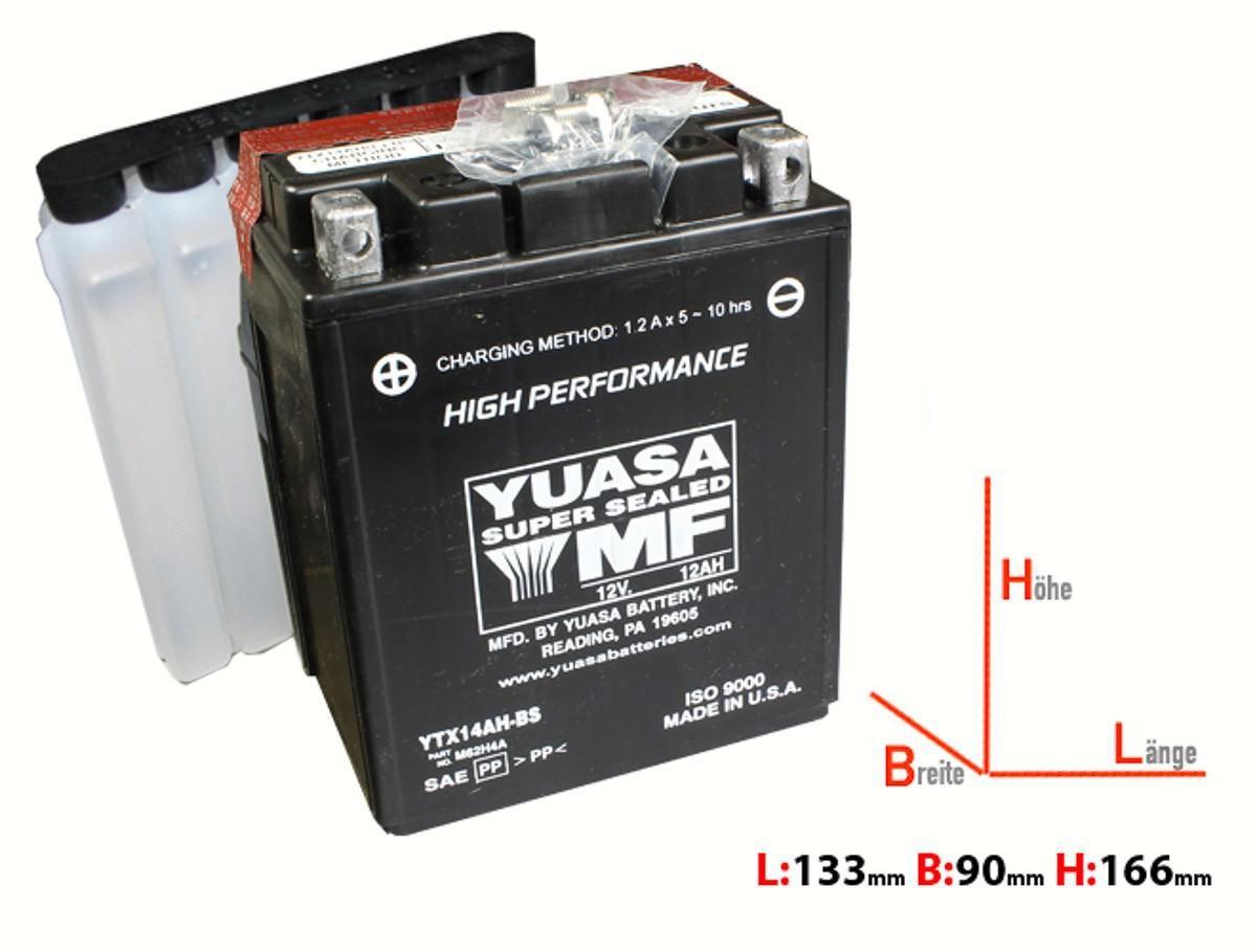 batterie yuasa ytx14ah bs 12ah b134xt89xh166mm elektronik batterien. Black Bedroom Furniture Sets. Home Design Ideas