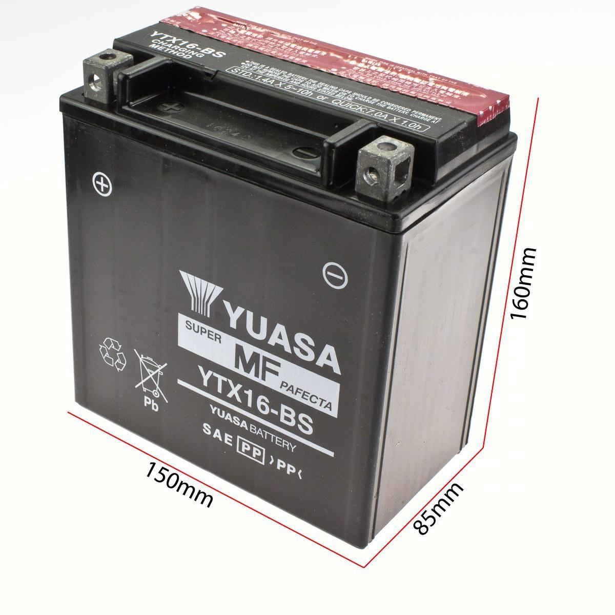 batterie yuasa ytx16 bs din51492 150x87x161mm elektronik batterien. Black Bedroom Furniture Sets. Home Design Ideas