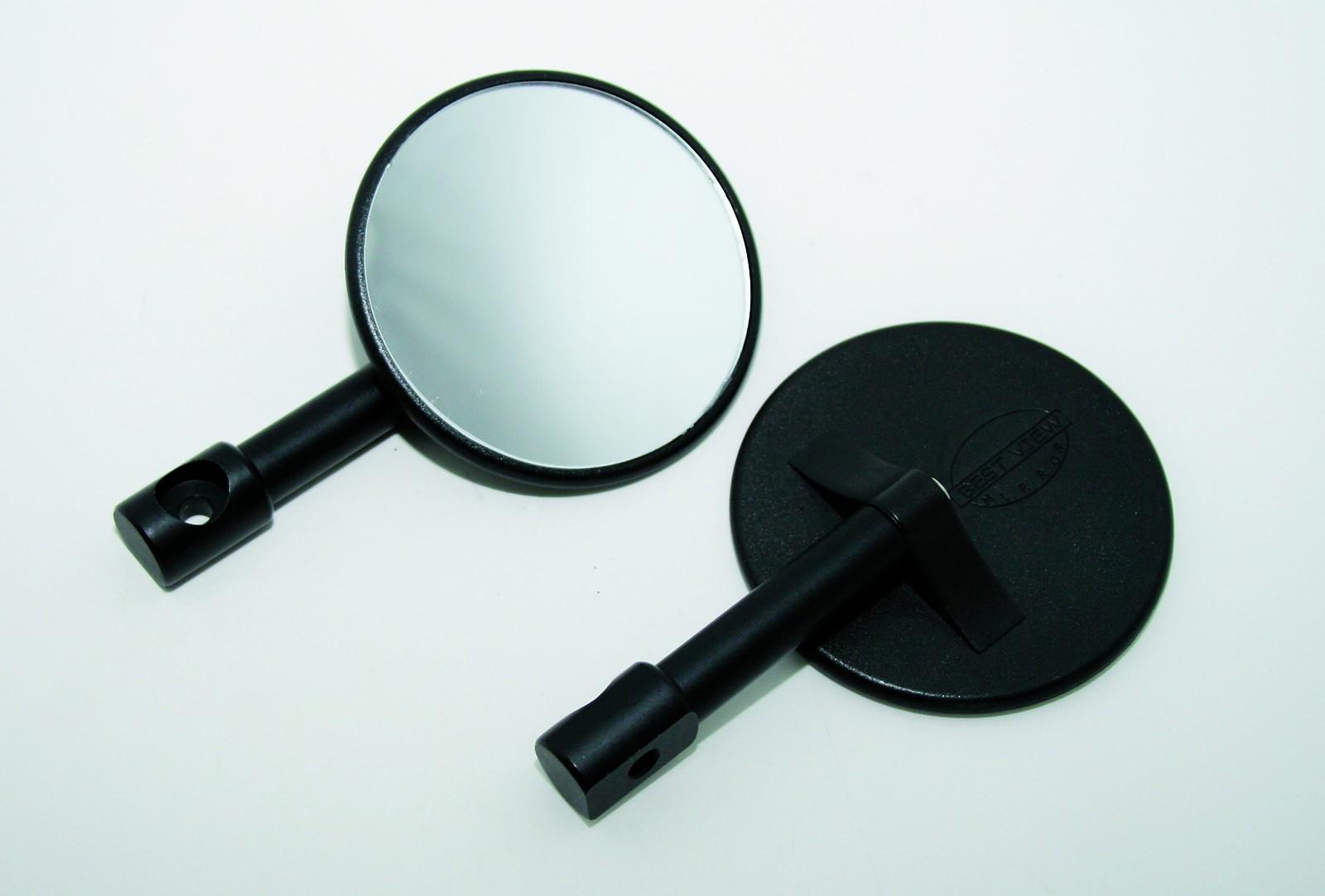 Minispiegel f lenkerende rund schwarz paar zubeh rteile for Spiegel rund schwarz